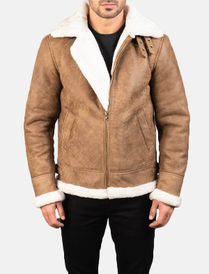 Men's Francis B-3 Distressed Brown Leather Bomber Jacket
