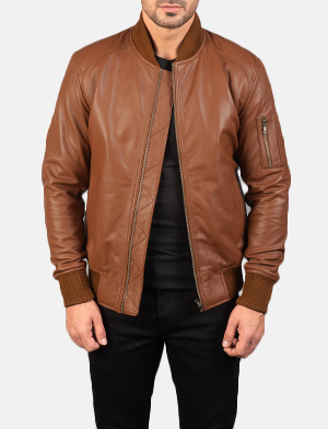 Men's Bomia Ma-1 Brown Leather Bomber Jacket