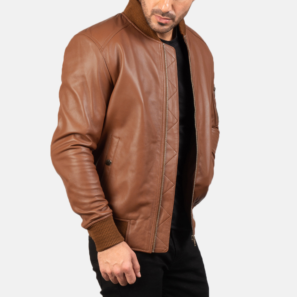 Men's Bomia Ma-1 Brown Leather Bomber Jacket 4