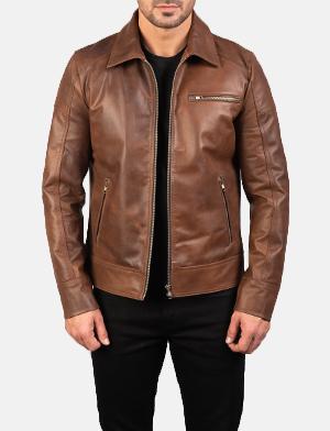 Mens Lavendard Brown Leather Biker Jacket