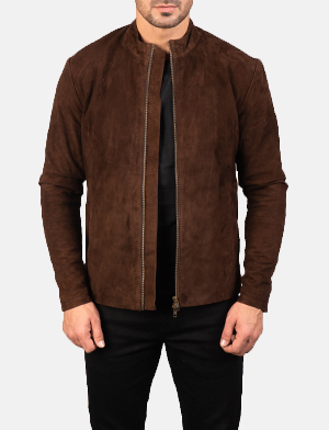 Men's Charcoal Mocha Suede Biker Jacket