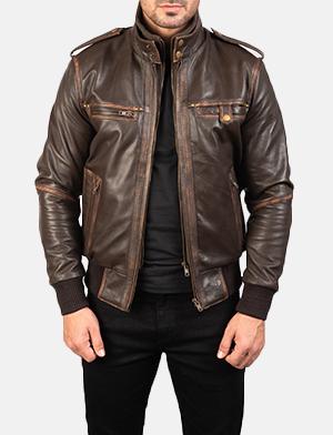 Mens Glen Street Brown Leather Bomber Jacket