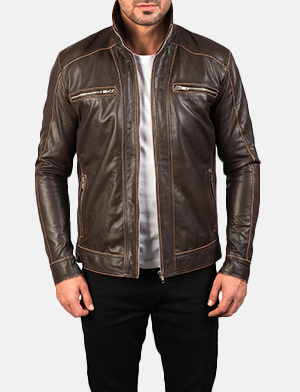 Men's Hudson Brown Leather Biker Jacket