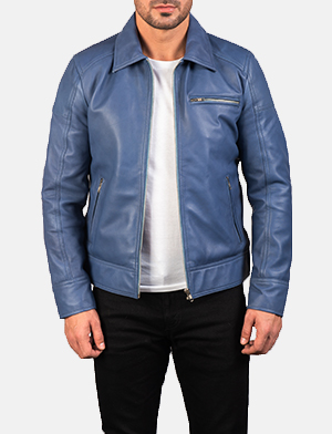 Men's Lavendard Blue Leather Biker Jacket