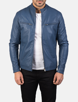 Mens Ionic Blue Leather Biker Jacket