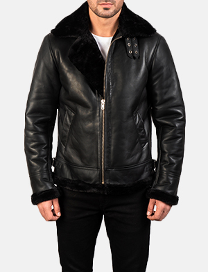 Men's Francis B-3 Black Leather Bomber Jacket