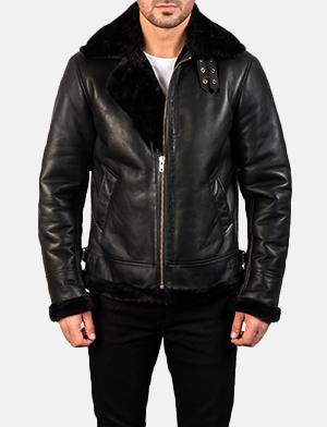 Men's Francis B-3 Black Leather Bomber Jacket