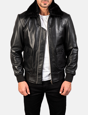Men's Airin G-1 Black Leather Bomber Jacket