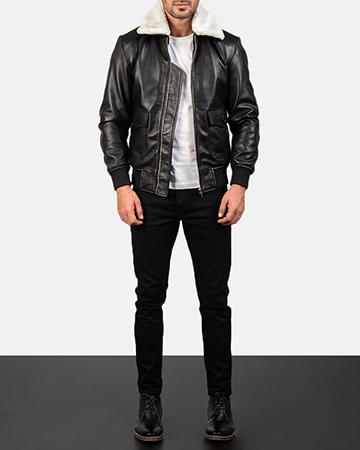 Men's Airin G-1 Black & White Leather Bomber Jacket 1