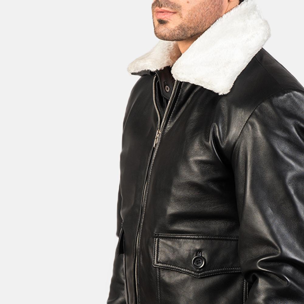 Men's Airin G-1 Black & White Leather Bomber Jacket 6