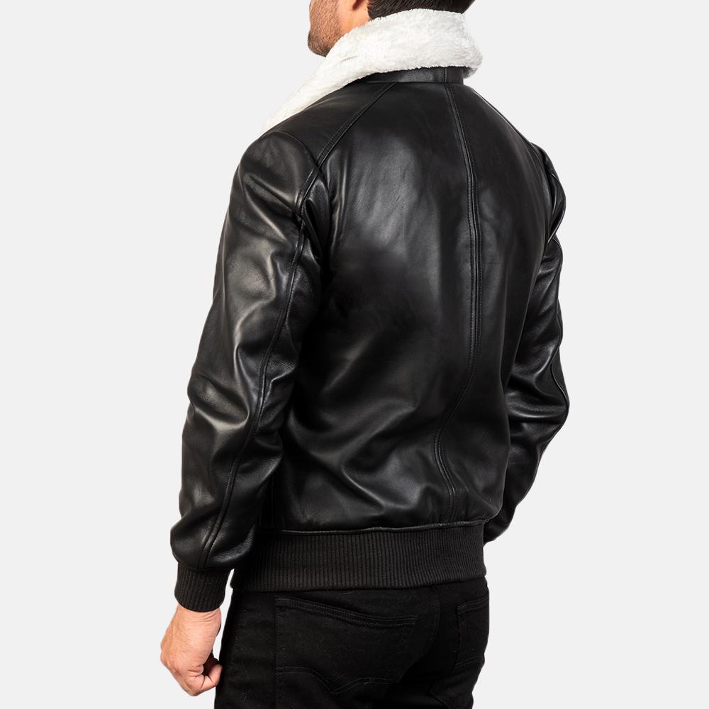 Men's Airin G-1 Black & White Leather Bomber Jacket 5