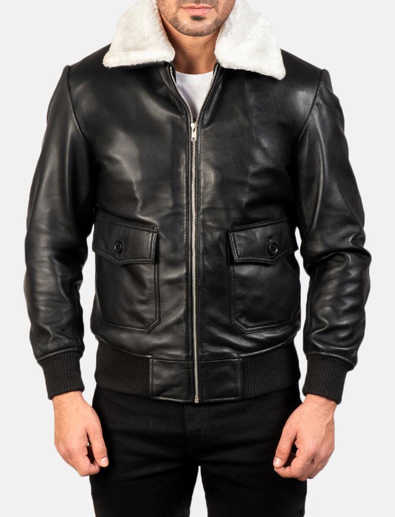Men's Airin G-1 Black & White Leather Bomber Jacket