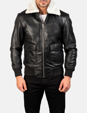 Men's Airin G-1 Black & White Leather Bomber Jacket
