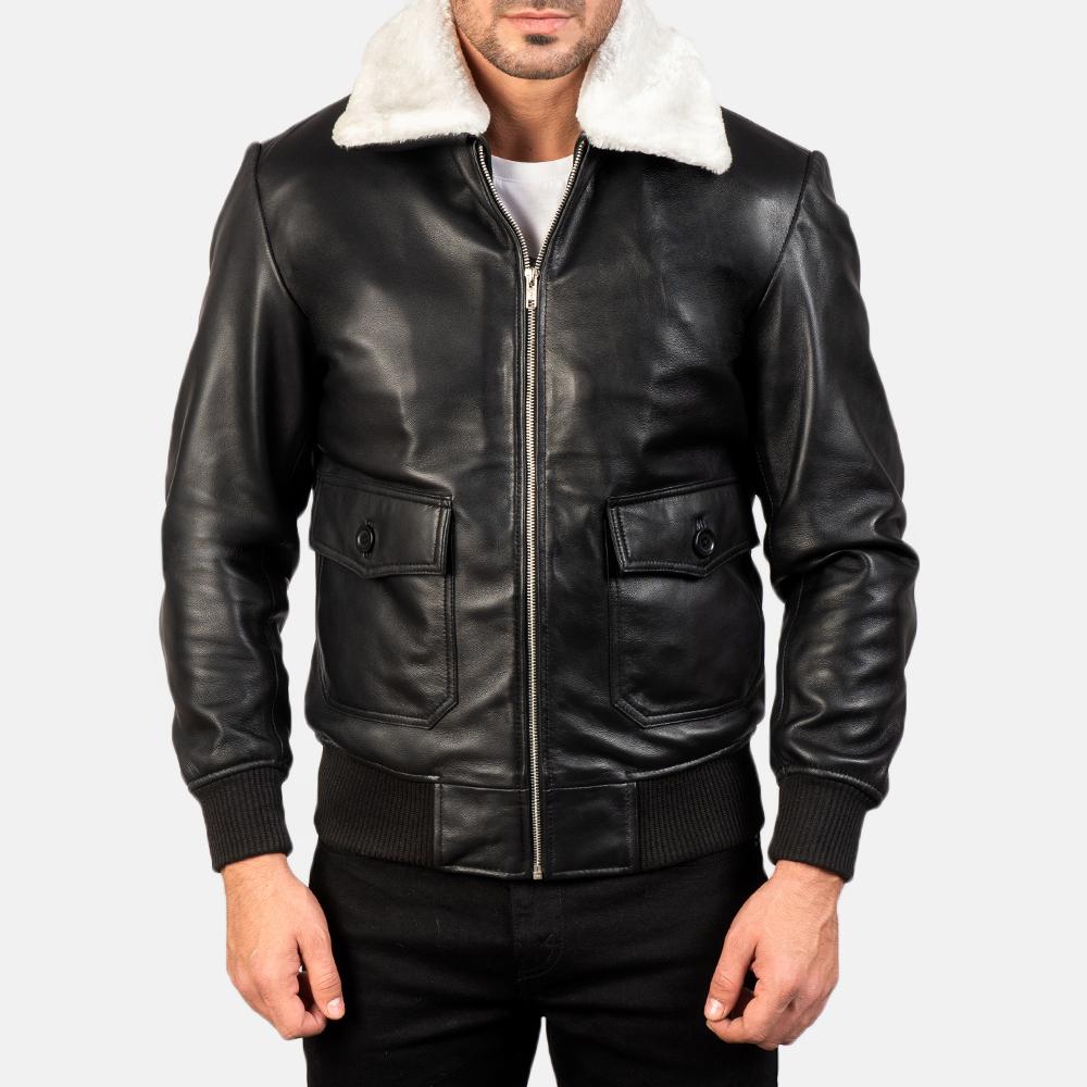 Men's Airin G-1 Black & White Leather Bomber Jacket 4