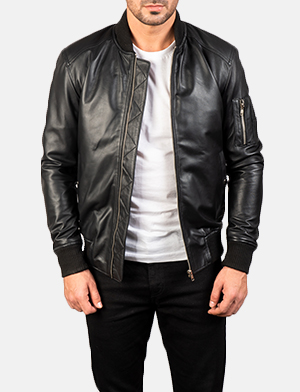 Men's Bomia Ma-1 Black Leather Bomber Jacket