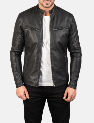 Mens Ionic Black Leather Jacket