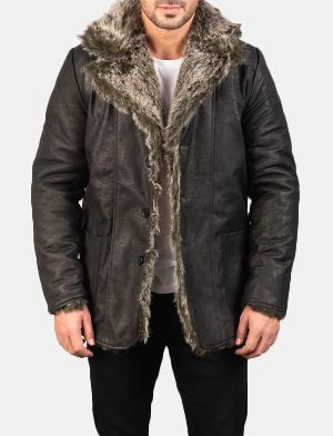 Men's Furlong Black Leather Coat