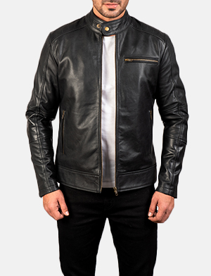 Mens Dean Black Leather Biker Jacket