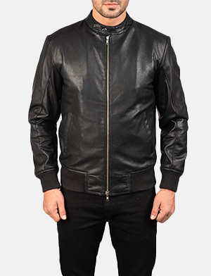 Avan Black Leather Bomber Jacket