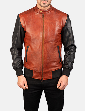 Men's Avan Black & Maroon Leather Bomber Jacket