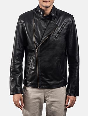 Mens Vivid Black Leather Biker Jacket