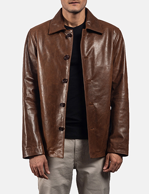 Mens Waffle Brown Leather Jacket