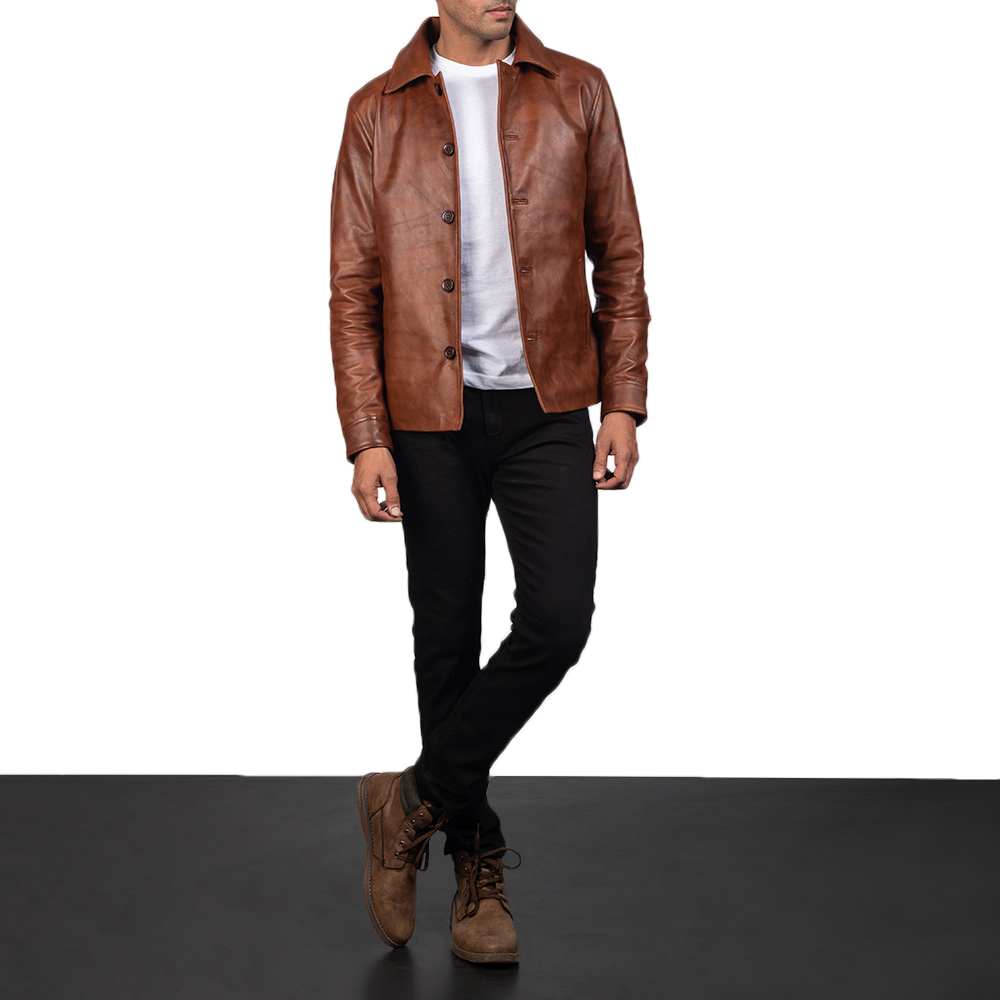 Men's Waffle Brown Leather Jacket 6