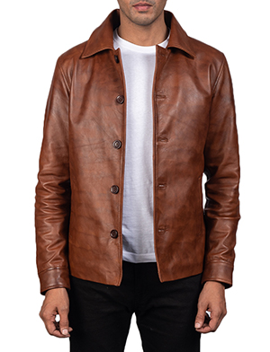 Men's Waffle Brown Leather Jacket