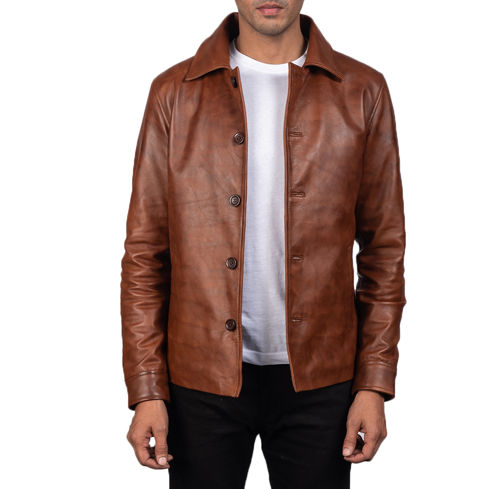 Men's Waffle Brown Leather Jacket 1
