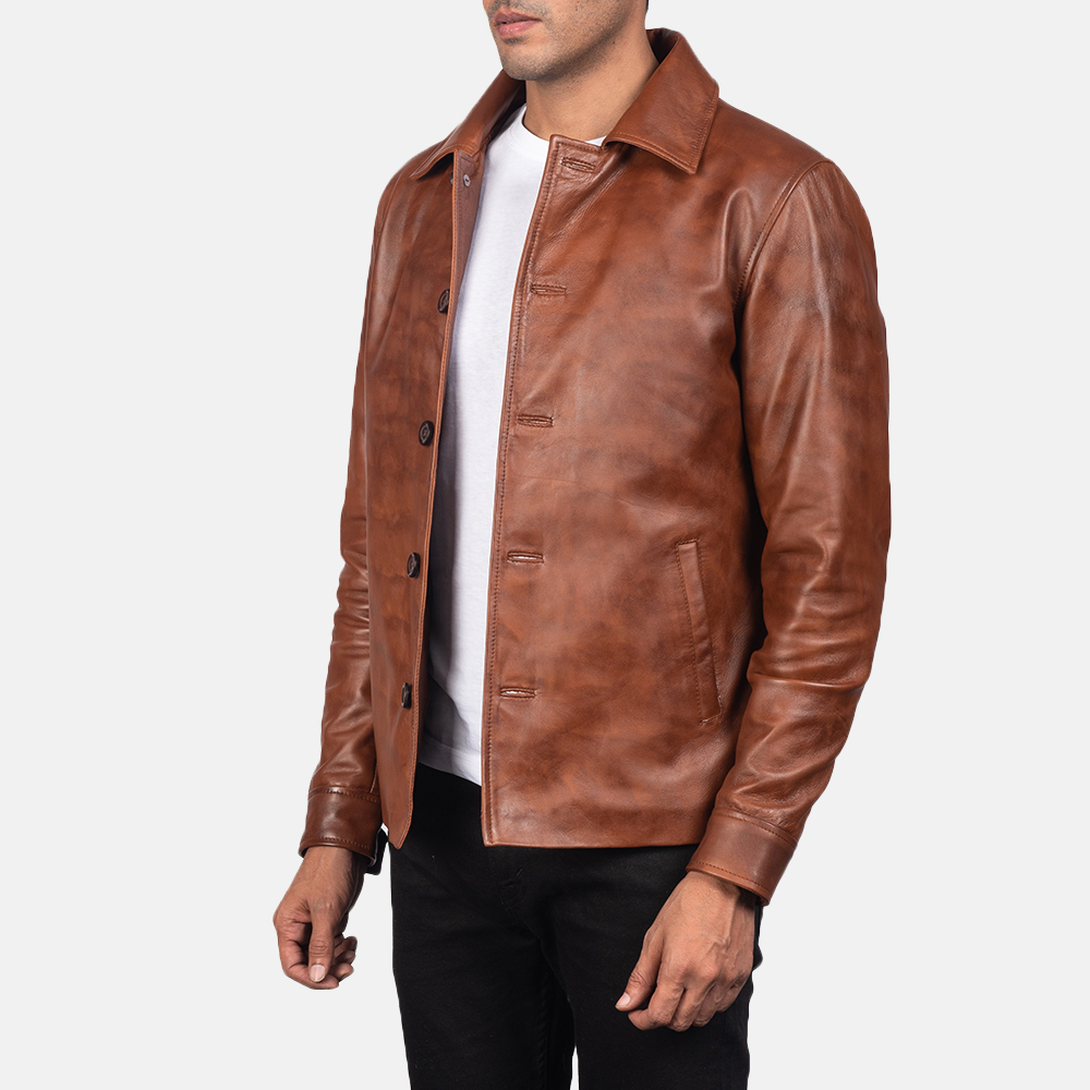 Men's Waffle Brown Leather Jacket 2