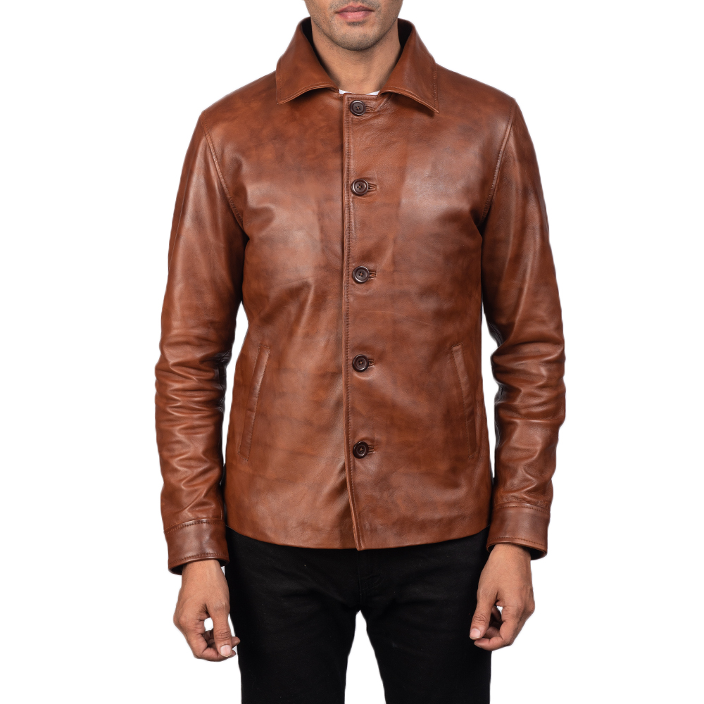 Men's Waffle Brown Leather Jacket 5