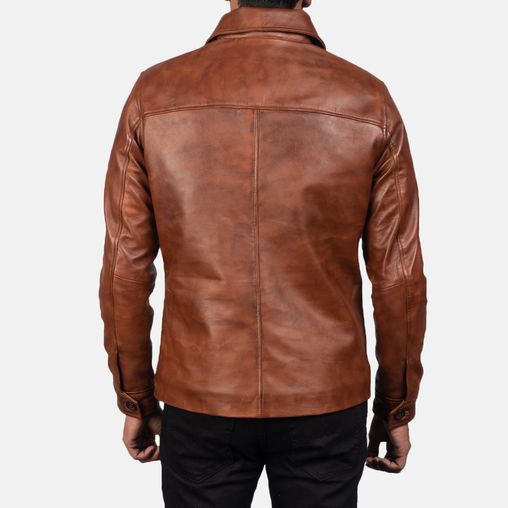 Men's Waffle Brown Leather Jacket 3
