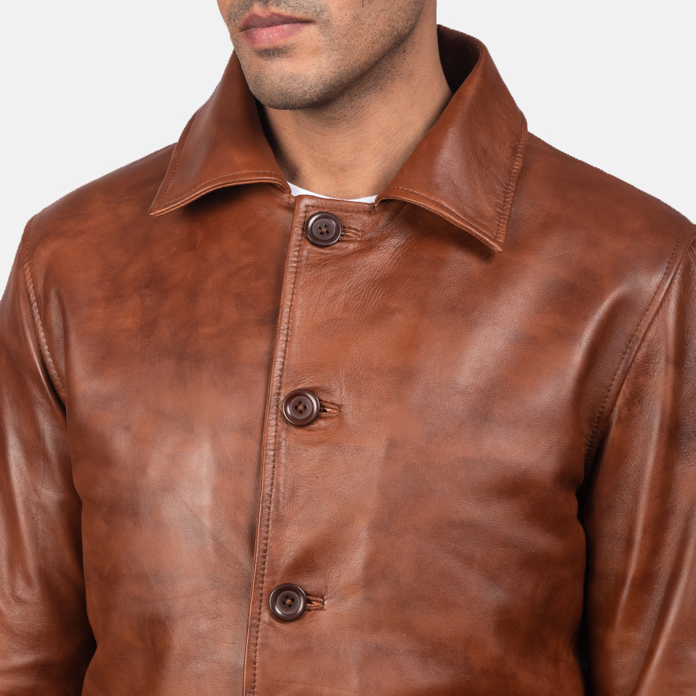Men's Waffle Brown Leather Jacket 4