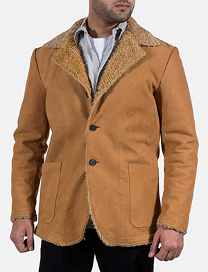 Mens Wheatabon Beige Fur Coat