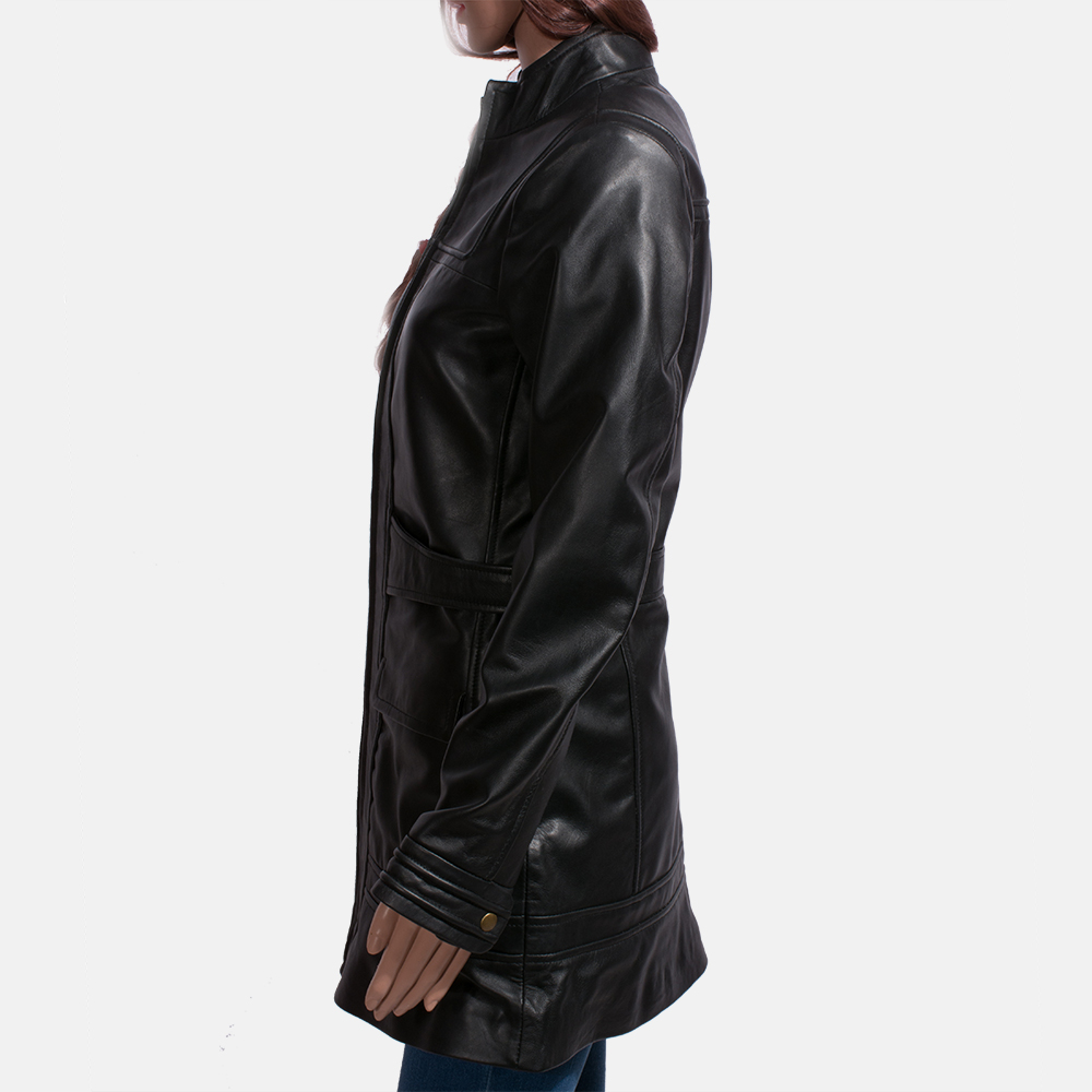Womens Serene Black Leather Coat 4