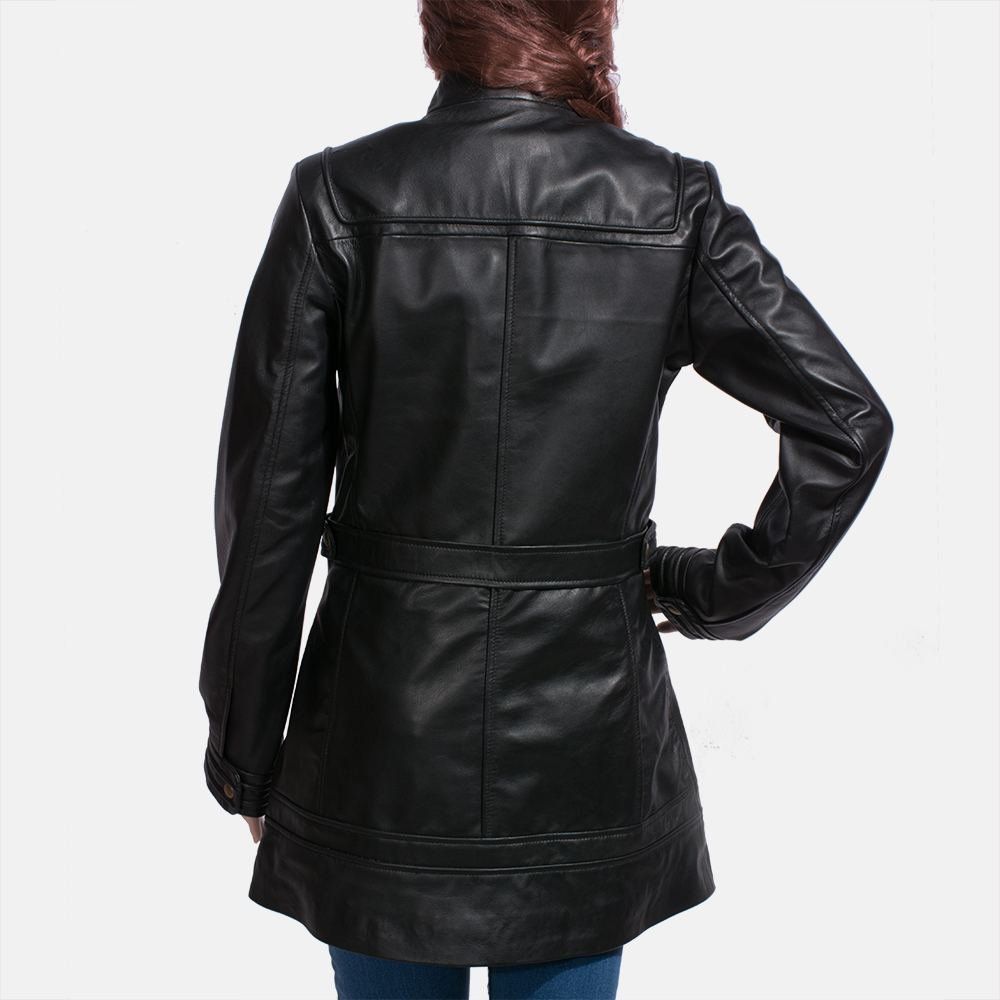 Womens Serene Black Leather Coat 5
