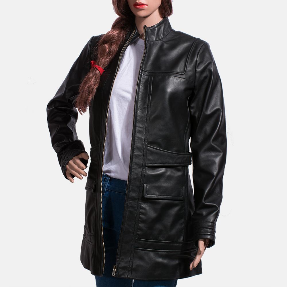 Womens Serene Black Leather Coat 7