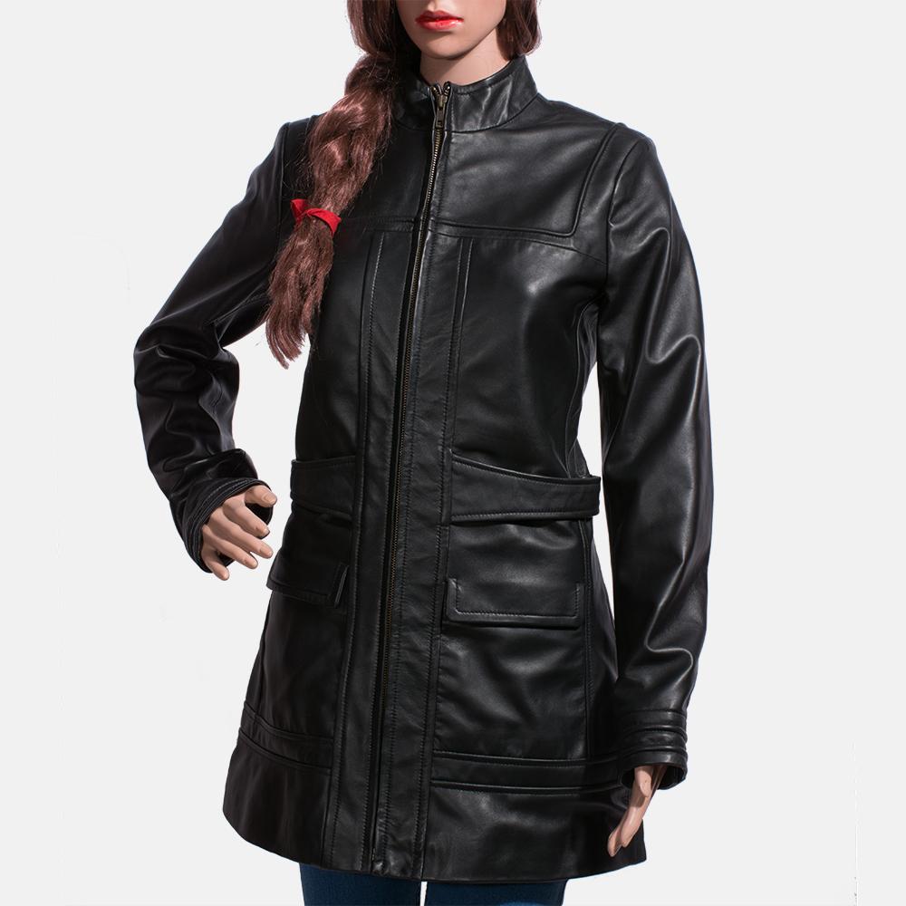 Womens Serene Black Leather Coat 2