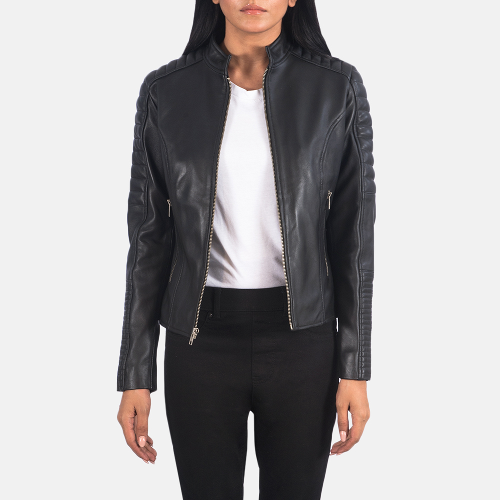 Women's Adalyn Quilted Black Leather Biker Jacket 3