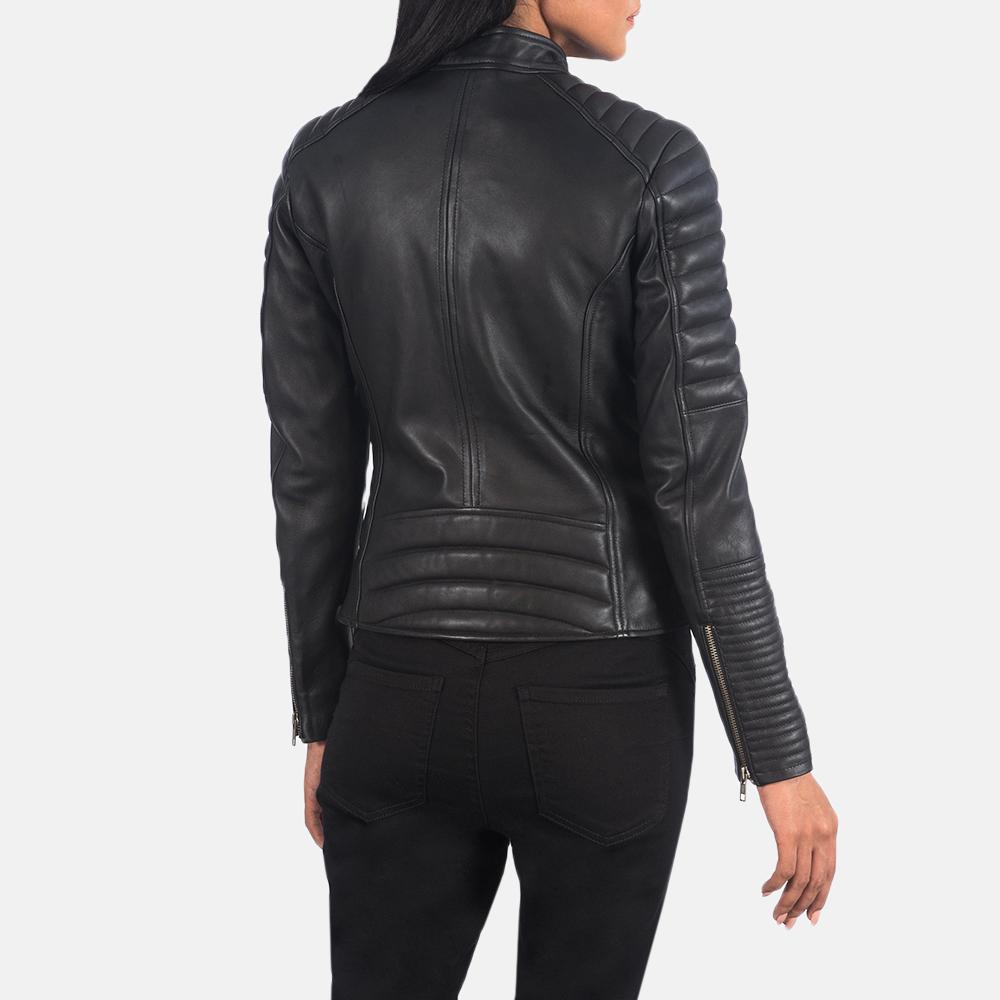 Women's Adalyn Quilted Black Leather Biker Jacket 5