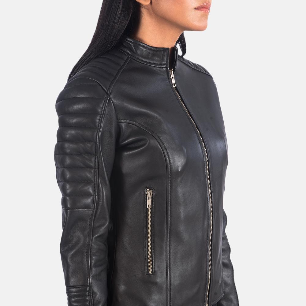 Women's Adalyn Quilted Black Leather Biker Jacket 6