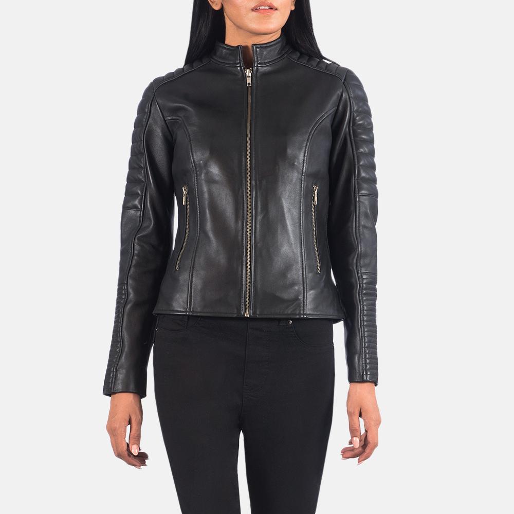 Women's Adalyn Quilted Black Leather Biker Jacket 2