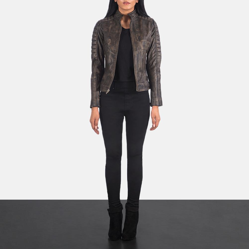 Women's Adalyn Quilted Distressed Brown Leather Biker Jacket 1