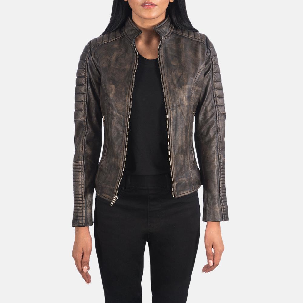 Women's Adalyn Quilted Distressed Brown Leather Biker Jacket 3