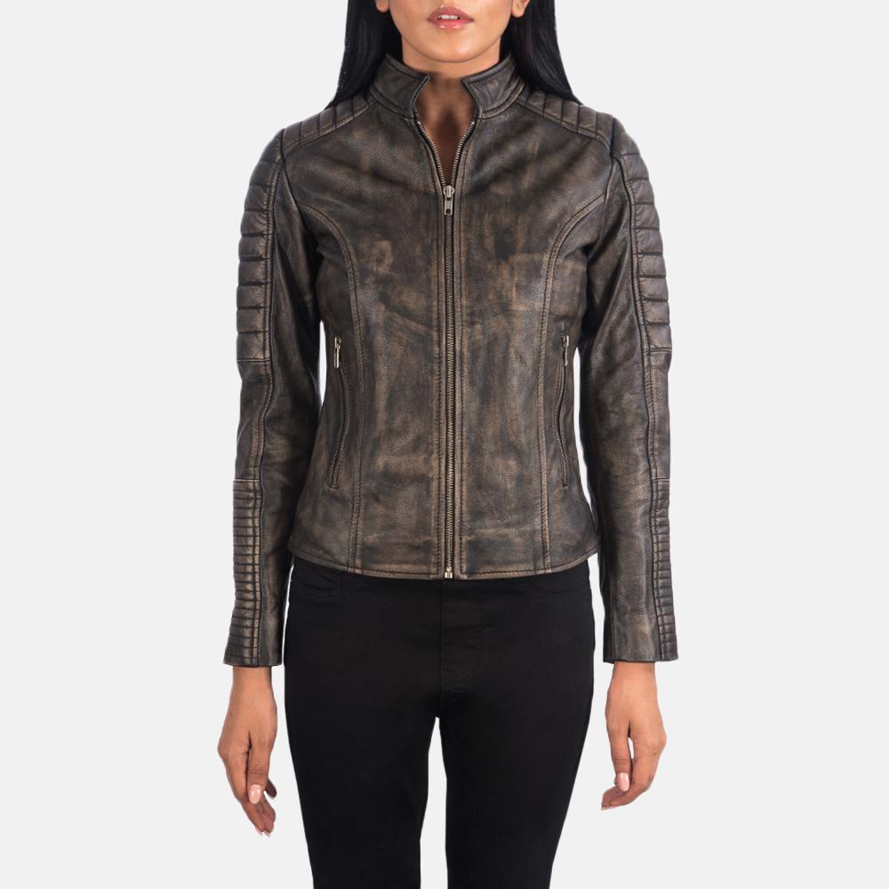 Women's Adalyn Quilted Distressed Brown Leather Biker Jacket 4