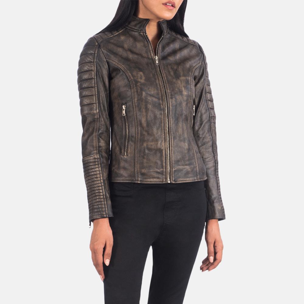 Women's Adalyn Quilted Distressed Brown Leather Biker Jacket 2