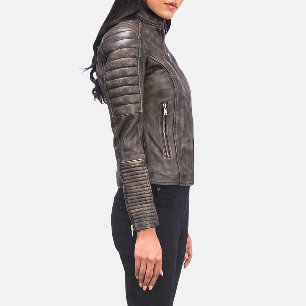 Women's Adalyn Quilted Distressed Brown Leather Biker Jacket 6