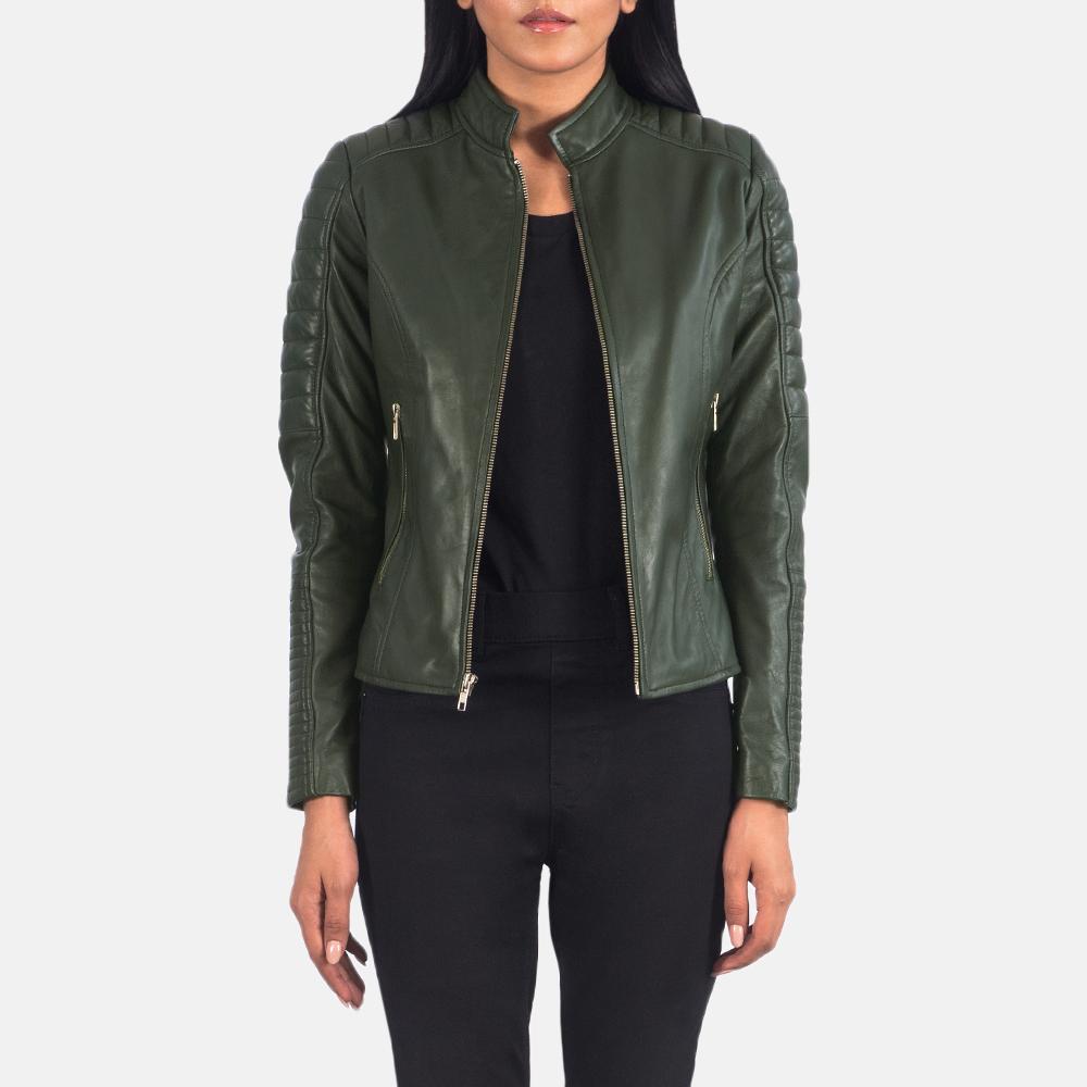 Women's Adalyn Quilted Green Leather Biker Jacket 3