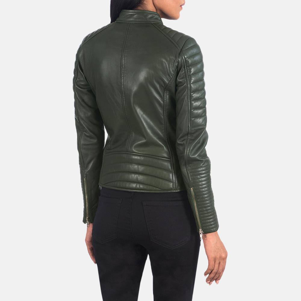 Women's Adalyn Quilted Green Leather Biker Jacket 5