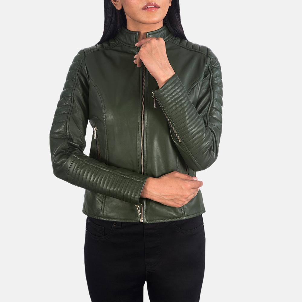 Women's Adalyn Quilted Green Leather Biker Jacket 4